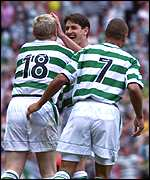 Neil Lennon, Jackie McNamara and Henrik Larsson of Celtic