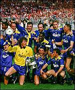 Wimbledon celebrate their FA Cup final win over Liverpool