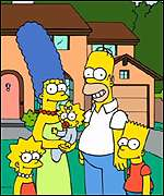 Lisa, Marge, Maggie, Homer and Bart Simpson