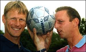 Spurs striker Teddy Sheringham and former Millwall player manager Keith Stevens