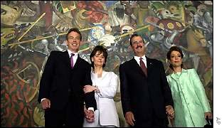 Tony Blair and Cherie Blair with the Mexican president and his wife