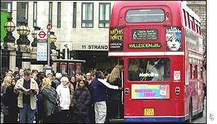 A double decker bus in London