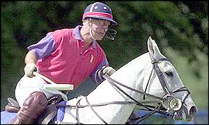 Prince Charles playing polo at Cirencester
