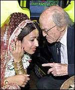 Lord Longford with Bronson's wife Saira