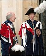 Lord Longford, who was Knight of the Garter, with Princess Anne