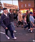 Demonstrators on the streets of Paulsgrove