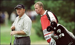 Woosnam and Byrne during round one of the Scandinavian Masters