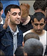 Refugee spokesman Aamer Anwar addressed the demonstrators