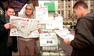Syrian read the first non-government newspaper