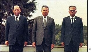 Pol Pot with fellow Khmer Rouge leaders Ieng Sary, left, and Son Sen