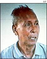 Khmer Rouge commander Ta Mok shown shortly after his arrest in 1999