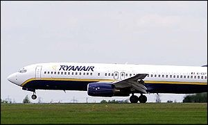 Ryanair plane about to take off