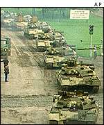Tanks leaving Moscow