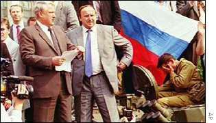 Yeltsin on tank outside White House