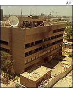 Damaged US embassy