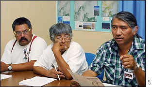 Western Shoshone tribe elders (l-r) Maurice Frank-Churchill, Carrie Dann and Johnnie Bobb