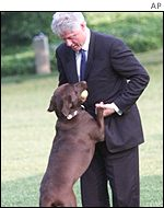 Bill Clinton and Buddy AP