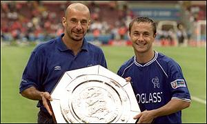 Gianluca Vialli and Dennis Wise hold FA Charity Shield after Chelsea victory over Man Utd last season