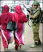Indian security personnel in Kashmir