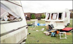 Caravan damaged by tornado