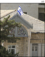 Israeli flag over Orient House