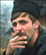 Romanian man smoking
