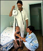 Weighing children in hospital