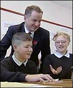 Jack McConnell with pupils