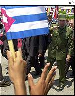 Wellwisher with Cuban flag