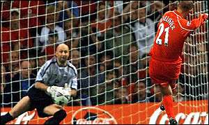Gary McAllister sends Fabien Barthez the wrong way