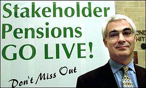 Alistair Darling launching stakeholder pensions earlier this year