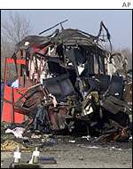 Wreckage of the bus
