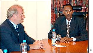 Hubert Vedrine and Paul Kagame