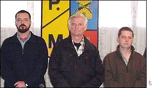They were named by the Colombian police as David Bracken, James Monaghan and Martin McCauley