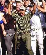Tiger Woods joy at Brookline