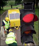 Solar powered traffic lights