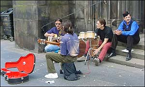 Street performers in Edinburgh