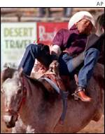rodeo cowboy falling from a bucking bronco
