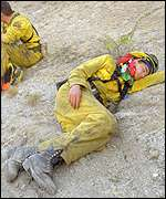 California firefighter takes a nap