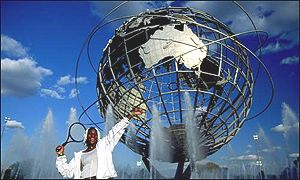 Serena Williams outside the Flushing Meadow Unisphere structure