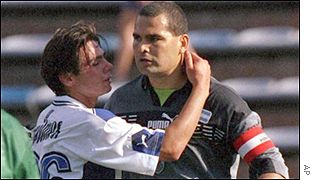Jose Luis Chilavert playing in the Argentine football league