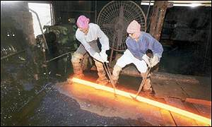 Steel workers in India