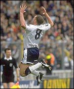 Gazza celebrates his goal against Arsenal