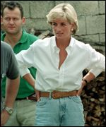 Diana, Princess of Wales, and Paul Burrell, meeting Bosnian Serbs and Muslims affected by landmines