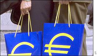 Shopping bags with euro logo
