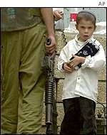 Jewish boy with soldier