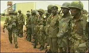 Liberia soldiers on parade