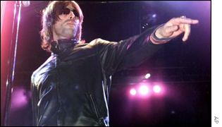 Liam Gallagher on stage at the Paleo Festival, in Nyon, Switzerland, July 26, 2000
