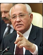 Mikhail Gorbachev giving a news conference ahead of coup anniversary