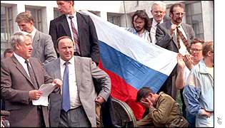Boris Yeltsin during the coup attempt